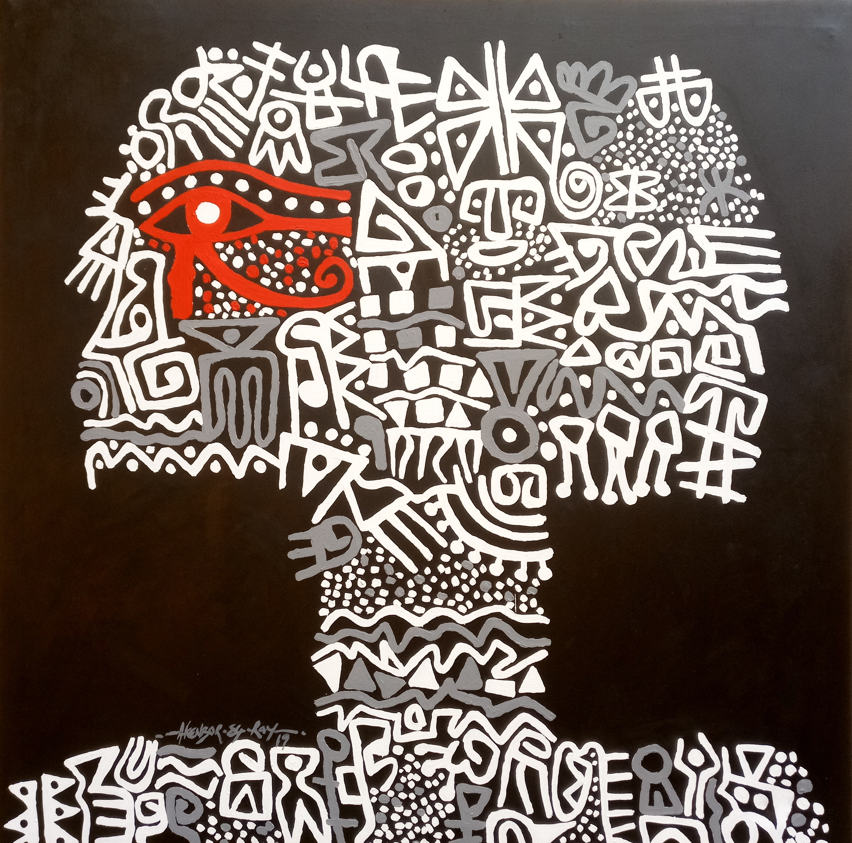 Painting Figure with African Patterns, Symbols, Motifs